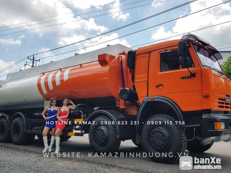 Xe xăng dầu Kamaz 23m3 - 25m3 (Tuỳ chọn bồn nhôm)   Xe xăng dầu 4 chân
